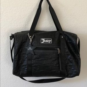 Juicy Couture Large Black Polyurethane Duffel Bag